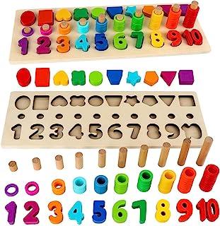 Sendida بچه ها پازل مرتب سازی چوب چوب اسباب بازی ها شکل مرتب سازی بر اساس و بلوک های جمع آوری ریاضی کودکان نوپا هدیه اسباب بازی های یادگیری ، اسباب بازی های Montessori برای کودکان نوپا ، آموزش های پیش دبستانی ، اسباب بازی های اولیه آموزش