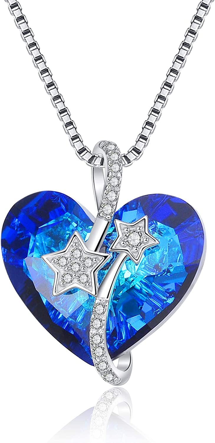 AOBOCO Heart Pendant Necklace 925 Sterling Aust with Don't Inexpensive miss the campaign Silver Blue
