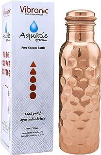 Copper Water Bottle 34oz Diamond hammered leak proof Ayurvedic Pure Copper Bottle: Perfect Ayurvedic Copper Vessel for Spo...