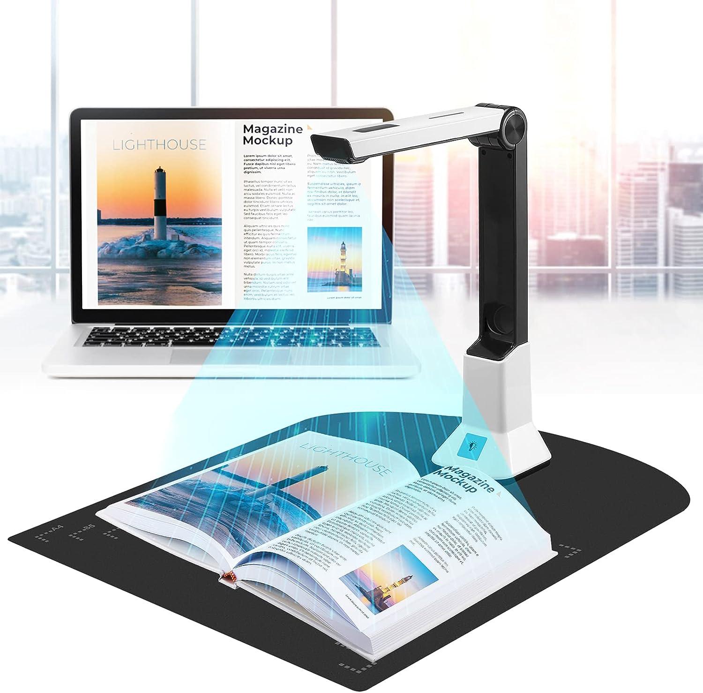 ETmate Escáner Portátil De Alta Definición, Cámara De Documentos Con Función De Grabación De Vídeo De Proyección En Tiempo Real, Tamaño De Escaneo A4 Del Escáner.
