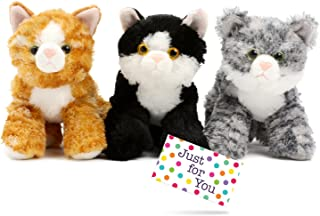 J4U Set of Three Mini Flopsie Cats with Gift Tag - One Each Lily, Molly, and Maynard