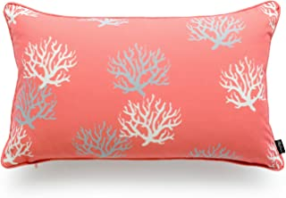 Hofdeco Beach Indoor Outdoor Cushion Cover ONLY, Water Resistant for Patio Lounge Sofa, Coral Pink Living Coral, 30cmx50cm