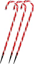 Set of 3 Lighted Outdoor Shimmering Candy Cane Christmas Lawn Stakes 28