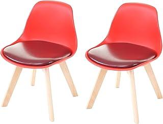 2X Chaise d'enfant HWC-E81, Tabouret d'enfant, Meuble d'enfant, Design rétro 55x38x39cm - Similicuir, Rouge