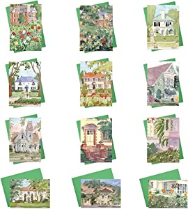 Home Anniversary Greeting Cards - BF2021. Realtor and Mortgage Broker Cards with 12 Designs Featuring Painted Homes and Home Anniversary Messages. Box Set Includes 24 Cards and 25 Green Envelopes.