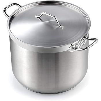Cooks Standard Professional Grade Lid 30 Quart Stainless Steel Stockpot, Silver