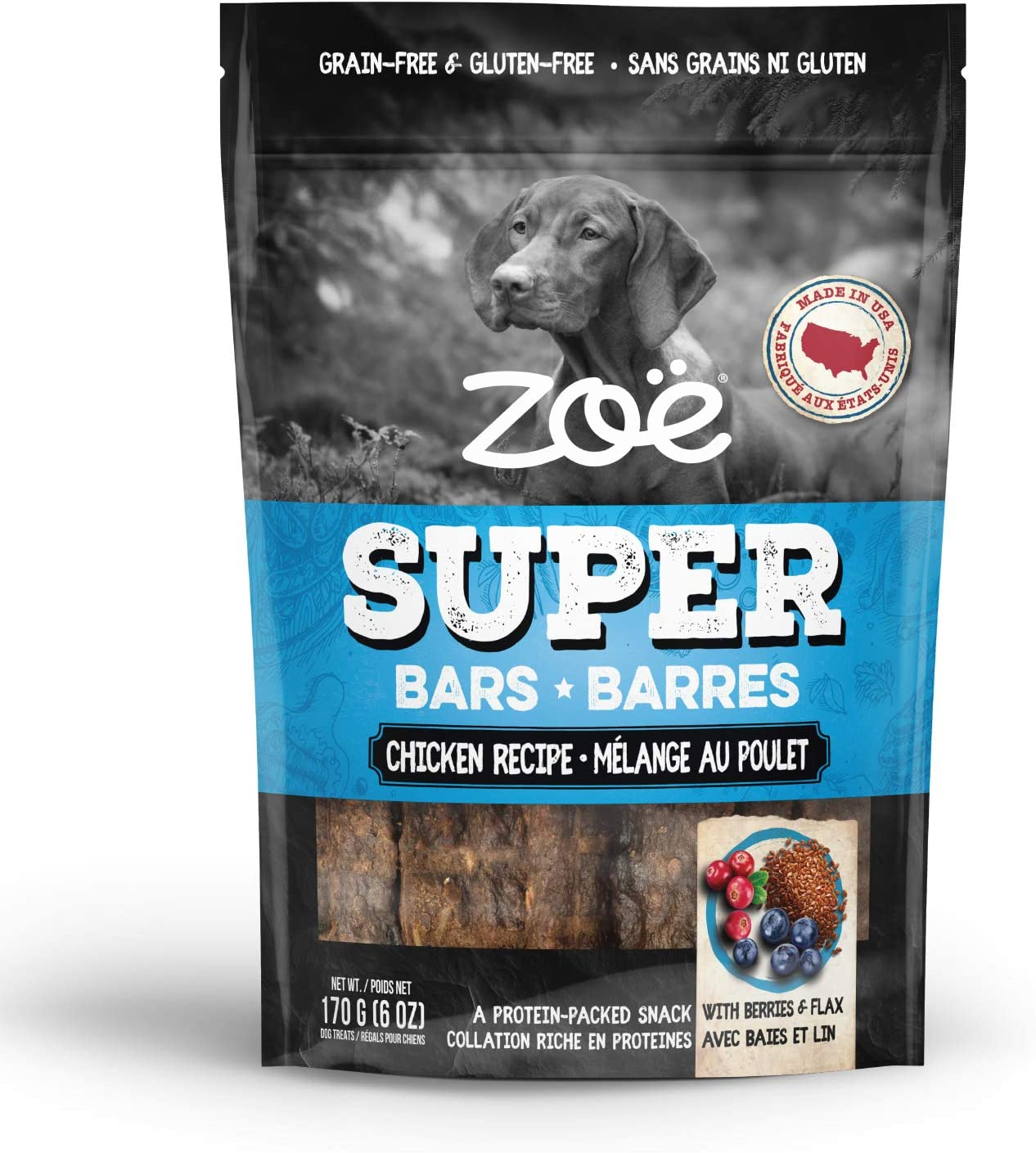 sold out Zoe Super Bar Dog Treats Made Packed USA in Grai Protein Only Sales