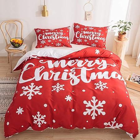 Amazon Com Snowflake Bedding Red Christmas Duvet Cover Set White Snowflake Merry Christmas Design Kids Boys Girls Bedding Sets Queen 1 Duvet Cover 2 Pillowcases Red White Queen Home Kitchen