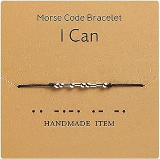 AILUOR Morse Code - Pulsera con cuentas chapadas en plata en cordón de seda, regalo para ella, mensaje secreto regalo Morr...