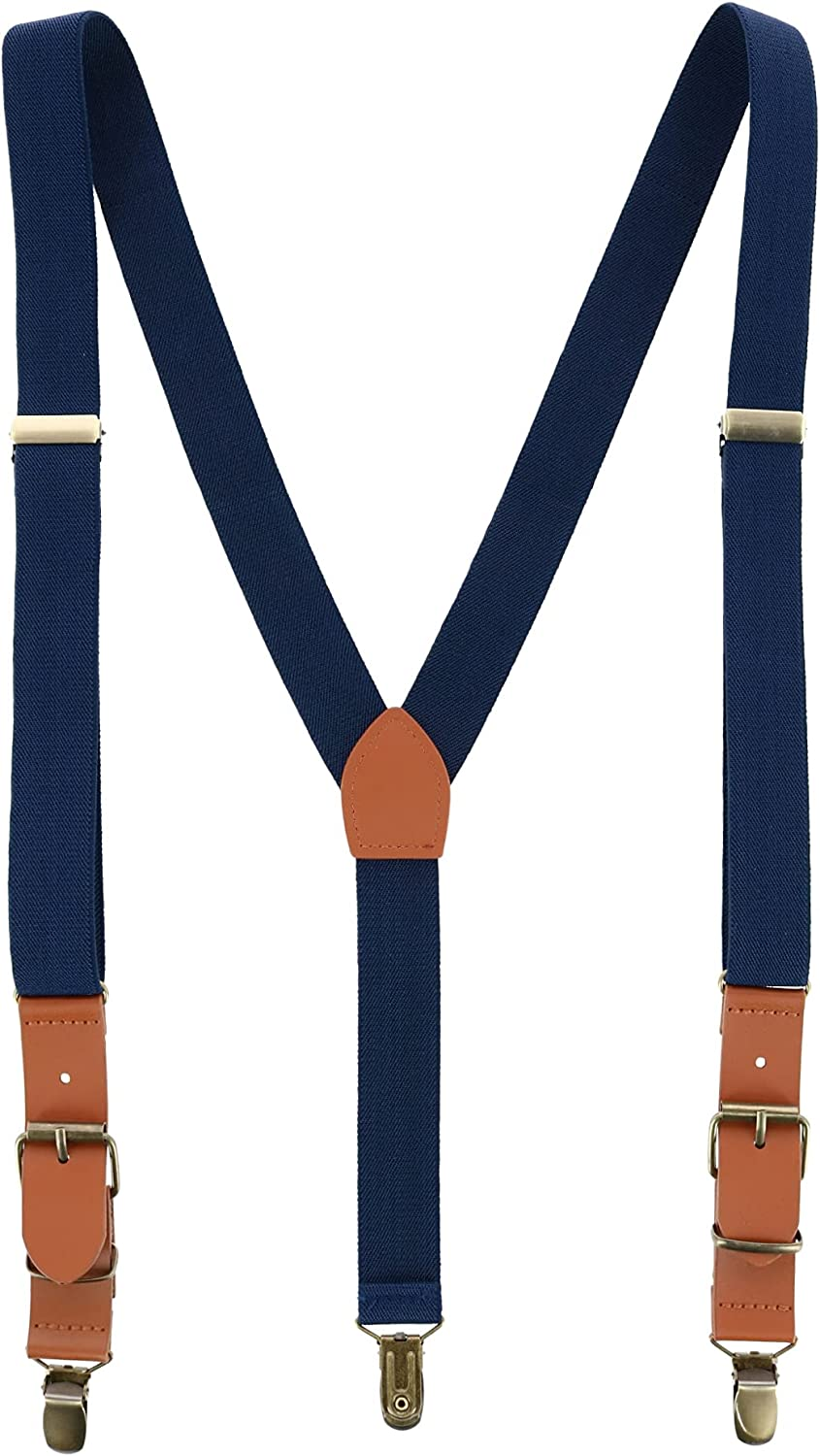 Trendy Yuppy Men's 1 Inch Wide Suspender with Faux Leather Buckle and Clip-Ends