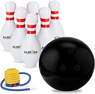 Kleeger Giant Inflatable Bowling Set, 6 Huge Life Size Large Jumbo 24 Inch Pins And Extra..