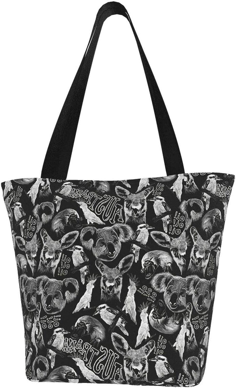 Cartoon Cute Test Screen Color Kangaroo Themed Printed Women Canvas Handbag Zipper Shoulder Bag Work Booksbag Tote Purse Leisure Hobo Bag For Shopping