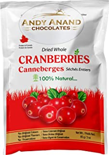 Andy Anand Chocolates- Premium Dried Whole Cranberries fresh fruits snack cranberry dry fruit Slightly sweetened Cranberry (Pack of 2 – 3 oz.).