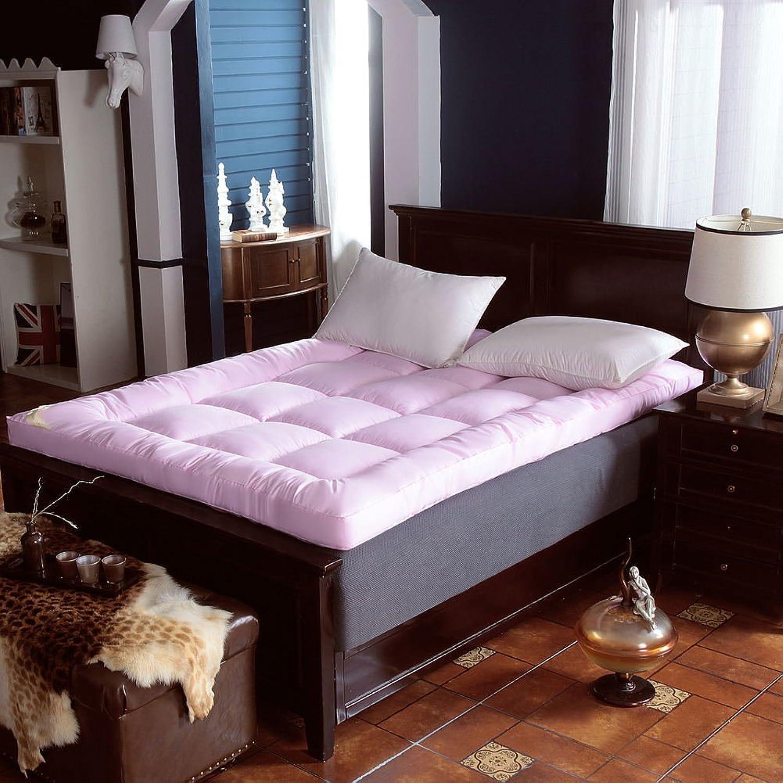 Lightweight Futon Mattress Mattress Pad, Ultra Soft Fiber Mattress Topper Tri-fold Mattress Comfort Portable Living Room Home-Pink 100x200cm(39x79inch)