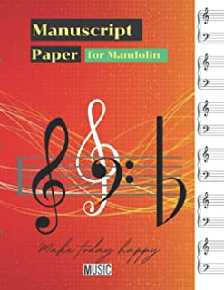 Manuscript Paper for Mandolin, Colorful digital sound wave background technology earthquake wave diagram cover, 100 pages...
