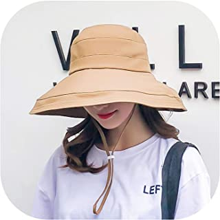 Harajuku Style Solid Color Cotton Outdoor Sunscreen Foldable Bucket Hat for Women Comfortable Bucket Hat