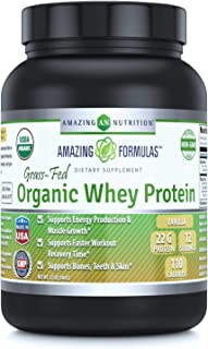 Amazing Formulas Organic Whey Protein Powder– 12 oz – USDA Certified Organic- Made from Milk Produced by Grass-fed Cows- P...