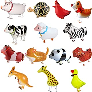 SOTOGO 14 Pieces Walking Animal Balloons Pet Balloons Farm Animal Balloon Toys Air Walkers For Kids Gift Birthday Party Decor
