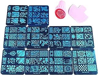 Finger Angel 10Pcs Nail Plates +1 Nail Stamper + 1 Nail Scraper Nail Art Image Stamp Stamping Plates Manicure Template Nail Art Tools (A1-10)