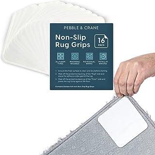 Pebble & Crane Non Slip Rug Gripper - Rug Corner Grippers - No Damage Carpet Tape & Rug Tape Alternative - 16 Pack