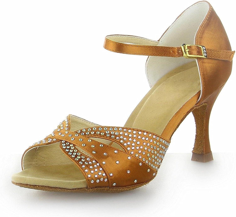 Monie Women's Bling Rhinestones Salsa Ballroom Tango Latin Dance shoes 3  Flare Heel Brown