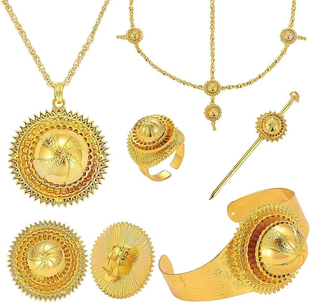 New 24K Gold Plated Big Size Wedding Jewelry Sets for Ethiopian Habesha Women