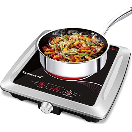 Techwood Hot Plate Electric Stove Single Burner Countertop Infrared Ceramic Cooktop, 1500W Timer and Touch Control, Portable Compatible All Cookware, Ceramic Glass & Stainless Steel Easy to Clean