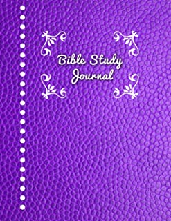 Bible Study Journal: Journaling Notebook Workbook Soft Cover Purple Faux Leather 90 Days To Record Bible Studies 8.5 x 11