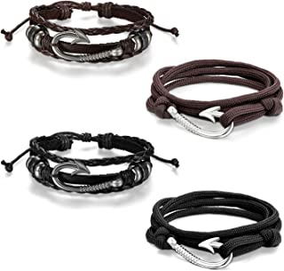 Cupimatch 4 Pieces Nautical Fish Hook Couple Nylon Ropes Bracelets Leather Cuff Bangle for Men Women