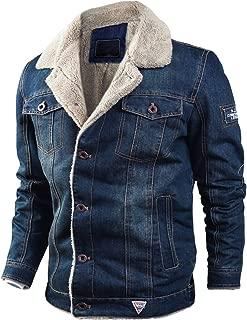 Men's Warm Sherpa Lined Single Breasted Washed Denim Trucker Jacket