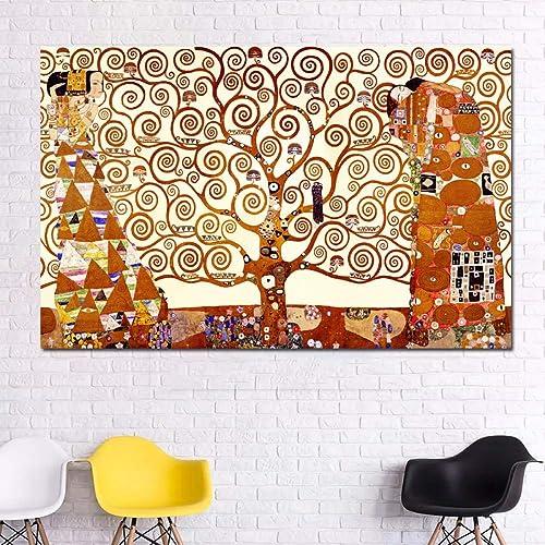 Obtén lo ultimo QIAISHI árbol de de de la Vida Pintura en Lienzo Arte de la Parojo Impresiones Carteles Pinturas al óleo abstractas clásicas para Sala de Estar sin Marco  ventas al por mayor