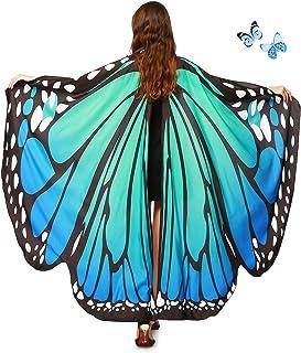 AWAYTR Women Butterfly Wings Shawl - Fairy Ladies Cape Halloween Dress Up Costume Accessory