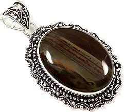 GoyalCrafts Sonoran Dendritic Rhyolite Natural Gemstone Pendant Silver Plated Jewelry GPU86