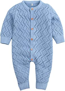 Ziyunlong Newborn Baby Girl Boy Rompers Solid Knitted Clothes