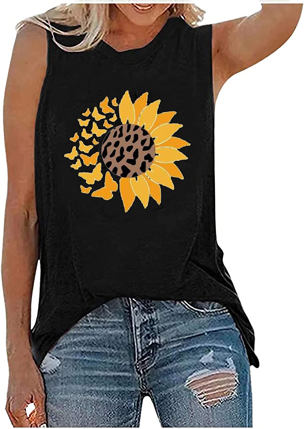 GOODTRADE8 Womens Tank Tops Casual Loose Fit Plus Size Sunflower Printed Tee Shirts Summer Tops Tee Shirts Blouse