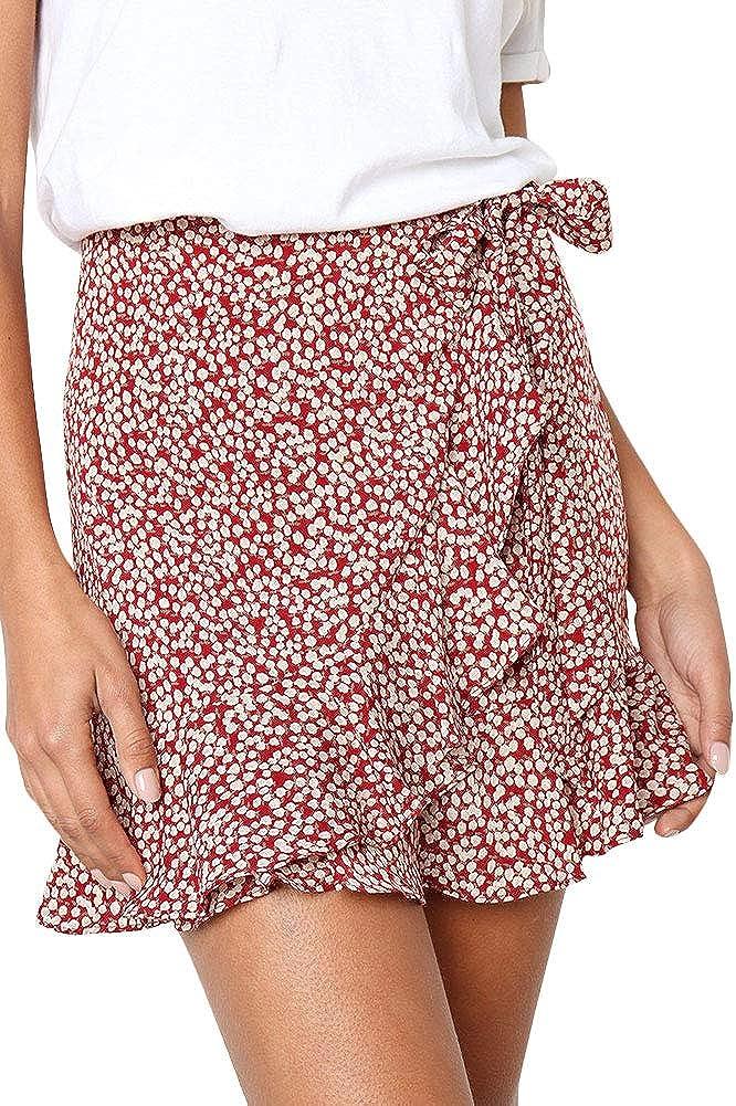 Yeshire Women's Floral Print Wrap Ruffles High Waist A line Cute Casual Mini Skirts