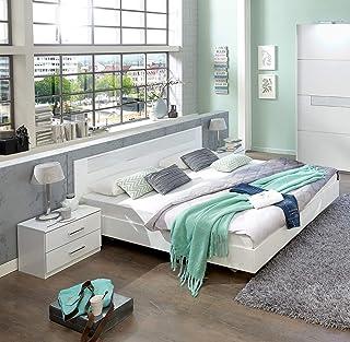 PEGANE Lit Adulte avec 2 chevets Coloris Blanc, rechampis Verre Blanc + Chrome - Dim: 140 x 200 cm