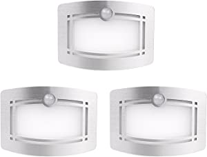 Motion Sensor Closet Light, OxyLED Wall Lights Battery Operated, Luxury Aluminum Stick-on Anywhere Wall Lamp Sconces, Motion Sensor Indoor Security Light for Stair, Kitchen, Bathroom, Hallway, 3 Pack