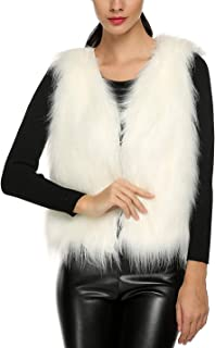 white fur vest with dress