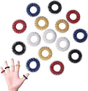Color Scissor 15 Pieces Acupressure Massage Rings, Finger Acupressure Ring Set Medicine Fidget Finger Ring for Kids Teens Adults (5 Colors)