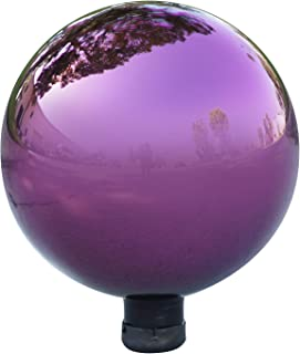 Alpine Corporation Electric Purple Gazing Globe - Glass Sphere with Neck - Outdoor Yard Art Decor - 10