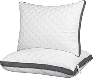 Lipo 2-Pack Queen Size Quilted Bed Pillows for Sleeping, Soft & Supportive for Side and Back Sleeper with Quilting Pattern...