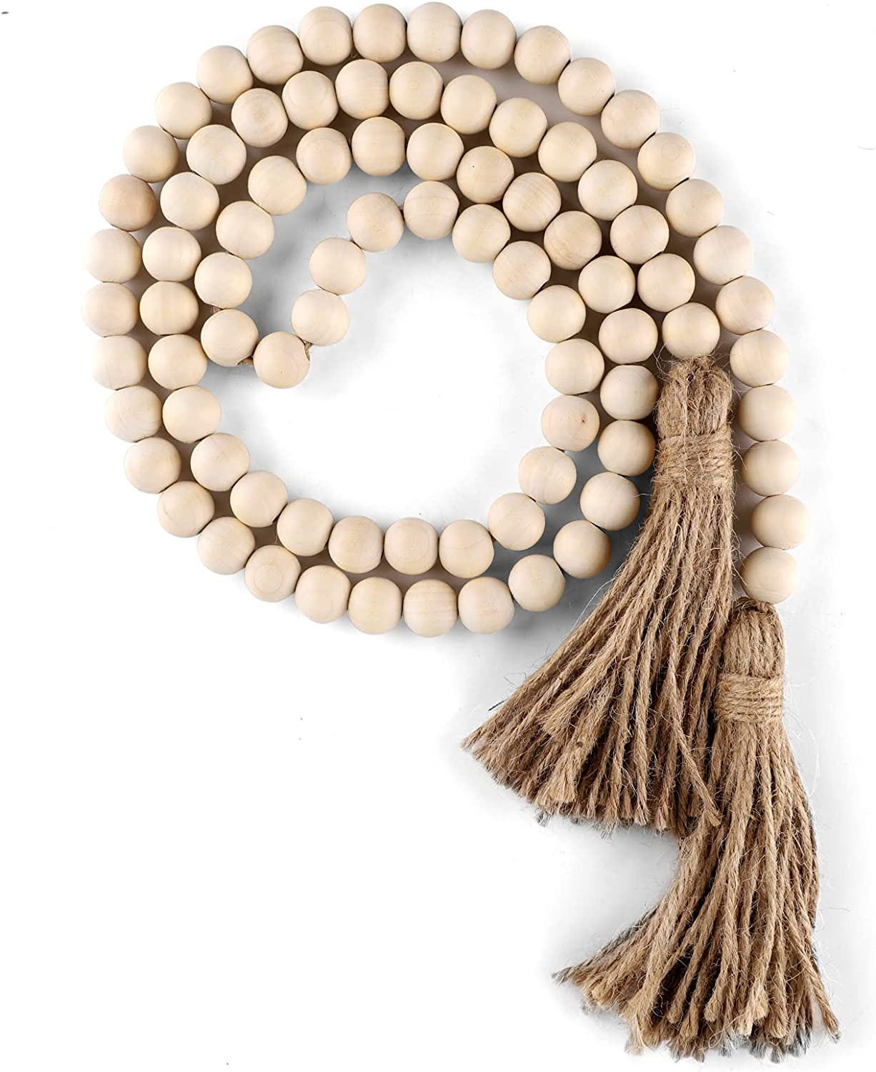 Wood Bead Garland with Tassels Mail order cheap Pray Farmhouse Bargain sale Beads 58in Rustic