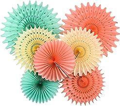 Furuix Mint Baby Shower Decorations Honeycomb Tissue Paper Fan Cream Mint Green Peach for Birthday Decor Wedding Decor Wal...