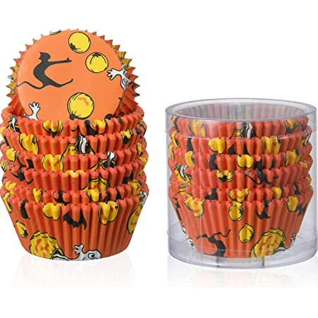 150 Pieces Halloween Cupcake Liners Halloween Cupcake Toppers Halloween Baking,Cups Paper Cupcake Wrappers Muffin Wrappers Baking Cups Cake Decoration for Halloween Theme Party