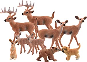 TUPARKA 9Pcs Forest Animals Set, Miniature Figures Woodland Animals Deer Figurine, Dog, Rabbit, Bear Figure Miniature Animals Woodland Cake Toppers