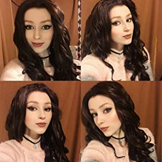 K'ryssma Brown Wig for Women Long Wavy Synthetic Wig with Middle Parting Full Machine Made Brown Wavy Wigs