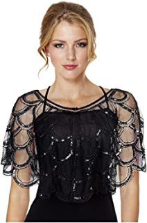 L'VOW Women's 1920s Gatsby Shawl Wraps Beaded Sequin Evening Cape Bolero Flapper Cover Up