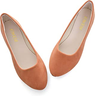VFDB Women Cute Slip-On Ballet Shoes Soft Solid Classic Pointed Toe Flats