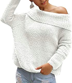 Womens Sexy Pullover Sweaters One Shoulder Long Sleeve Chunky Knit Jumpers